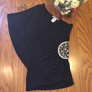 Body central women's small black with rhinestone